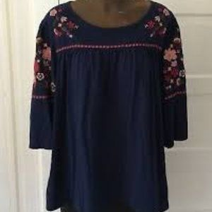 St Johns Bay Womens Embroidered Top NWT